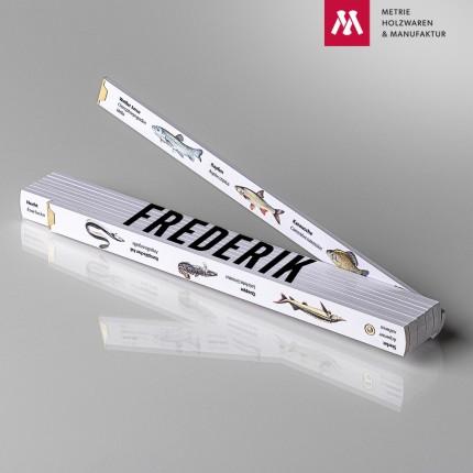 Namenstagsgeschenk für den Bruder Zollstock mit Name Frederik