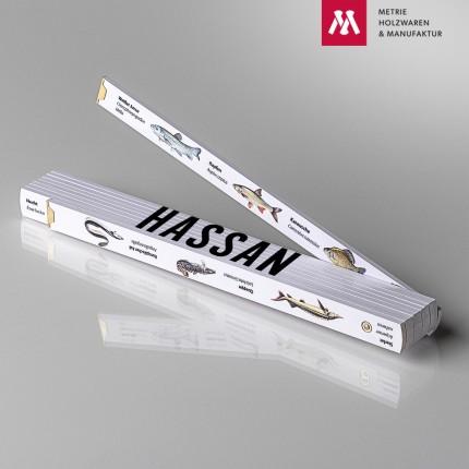 Zollstock mit Name Hassan