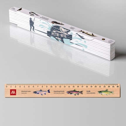 Geschenk für Angler: Zollstock + 1 Lineal